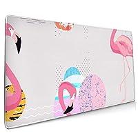 かわいいピンクのファルミンゴ大ゲーミングマウスパッド、拡張マットデスクパッド、耐久性のあるポリエステルマウスパッド、デスクカバー、コンピューターのキーボード、PC、ラップトップ用の滑り止めの厚いラバーベースのマウスマット
