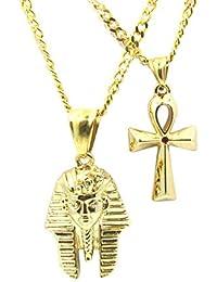 Pharaoh + ankh Microチェーンセット18 K Gold overステンレススチールピースミニチャームペンダントネックレス
