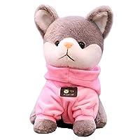 ハスキー犬 ぬいぐるみ いぬ おもちゃ ワンちゃん 服付き かわいい 小さい ふわふわ 子供へ 恋人へ お誕生日 プレゼント 部屋飾り 人気(ピンク 18cm)