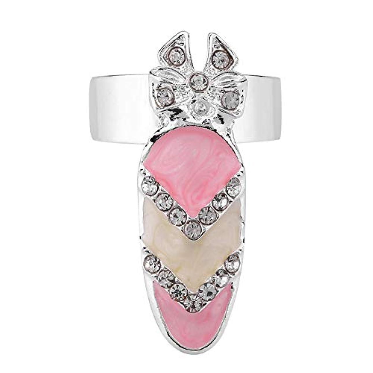 習熟度賞ローブSemmeちょう結びのナックルの釘のリング、指の釘の指輪6種類のちょう結びの水晶指の釘の芸術のリングの女性の贅沢な指の釘のリングの方法ちょう結びの釘の釘のリングの装飾(5#)
