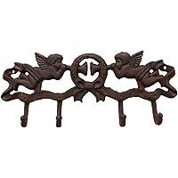 Sungmor 鋳鉄 4 フック ウォール ハンガー、装飾的な 天使 壁に取り付けられた ホック、素朴な吊りラック、屋内および屋外 壁 装飾、ハンド ツール や プランター、コート、帽子、キー、に最適