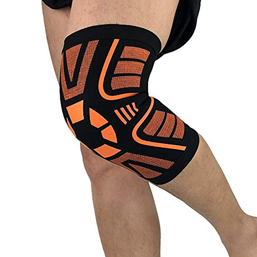 Electrost ジョギング、運動、歩行、ハイキング&リカバリー用の膝サポート用コンプレッションスリーブ(ペア) - 関節痛および関節炎緩和のための改善された循環圧迫 (色 : ブラック/オレンジ, サイズ : XL)