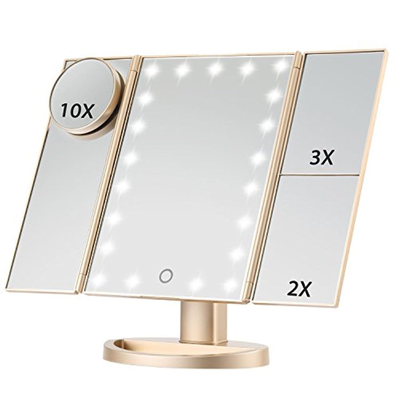ゴミ箱を空にする要旨理論的Magicfly 化粧鏡 LED三面鏡 ミラー 折り畳み式 10X /3X/2X拡大鏡付き 明るさ調節可能180°回転 電池/USB 2WAY給電 (ゴルード)