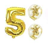 Big Hashiお誕生日パーティー 風船 飾り付け バルーンx2個 ゴールド 数字5バルーン x1個 風船セット(sz-05)