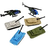 Baosity Diecast Army Vehicles Model Toy Mini Alloy Army Toy Tank Fighter Helicopter Playset for Kids Toddlers Boys