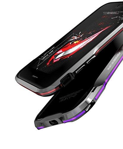 「楽々セレクトショップ」LUPHIE正規品 LUPHIE iphone 8plus 専用アルミニウム製保護ケース アイフォン7 バンパー かっこいい アルマイト加工 アルミ合金 (iphone 8plus, ブラック&パープル)