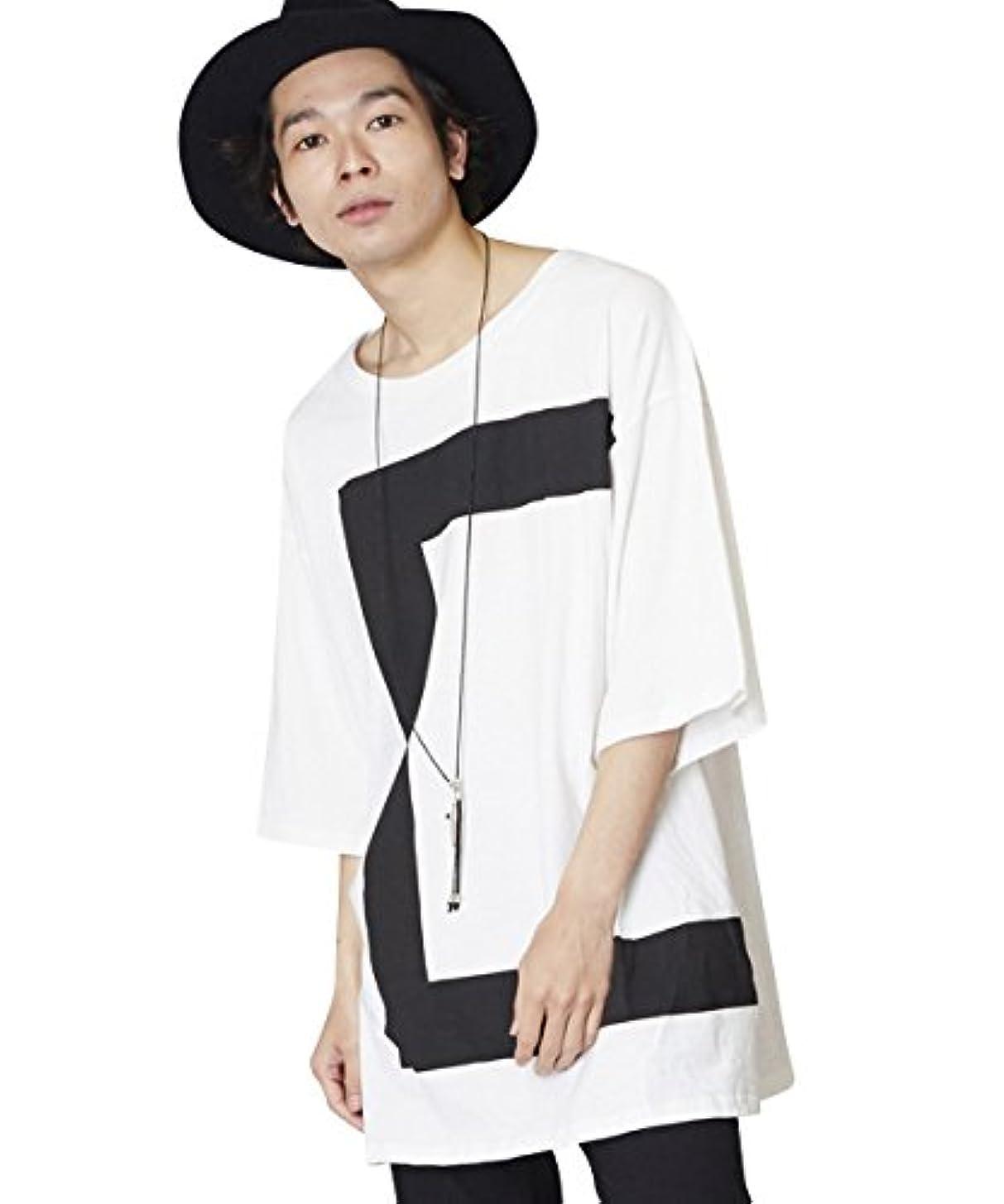 投票管理者肺(アンリラクシング) Unrelaxing オーバーサイズプリントTシャツ 幾何学Tシャツ UR-447 FREE ホワイト UR-447_WH01F001