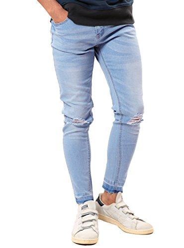 JIGGYS SHOP (ジギーズショップ) クラッシュスキニーデニム メンズ パンツ メンズ スキニーデニム メンズ ダメージ デニム メンズ L ライトブルー