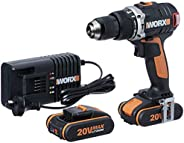 WORX WX373 Hammer Drill 20V MAX 13mm Cordless Brushless Hammer Drill/Driver with 2X Batteries, Charger & C