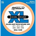 D'Addario ダダリオ エレキギター弦 ニッケル Blues/JazzRock 3弦巻き弦 .011-.049 EXL115W 【国内正規品】