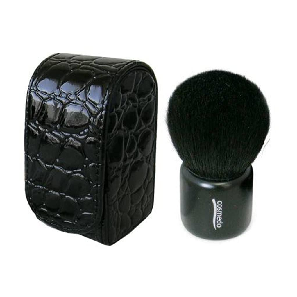 ゆりドライ環境熊野筆 メイクブラシ 匠の化粧筆コスメ堂 灰リス入り きのこブラシ(フェイスブラシ/チークブラシ) + 専用ケース のセット (ケース色ブラック/持ち手ブラック) S-023K
