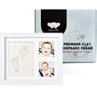 新しい& Enhanced Baby Handprintキットby Baby Leon–PREMIUM BABY Picture Frame | Bestベビーシャワーギフトfor Girls & Boys | Footprint記念品のNewborns | Cute Paw Prints | mold-free Nontoxic Clay