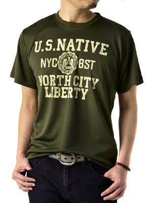 (フラグオンクルー) FLAG ON CREW 吸汗速乾 Tシャツ メンズ アメカジ ミリタリー 半袖 / D1J / M A柄カーキ