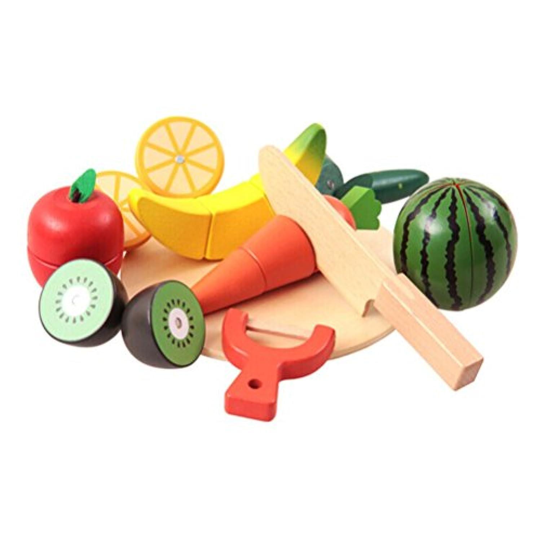 Fenical木製Cutting Fruit Vegetableおもちゃごっこフルーツ再生キッド教育玩具セット