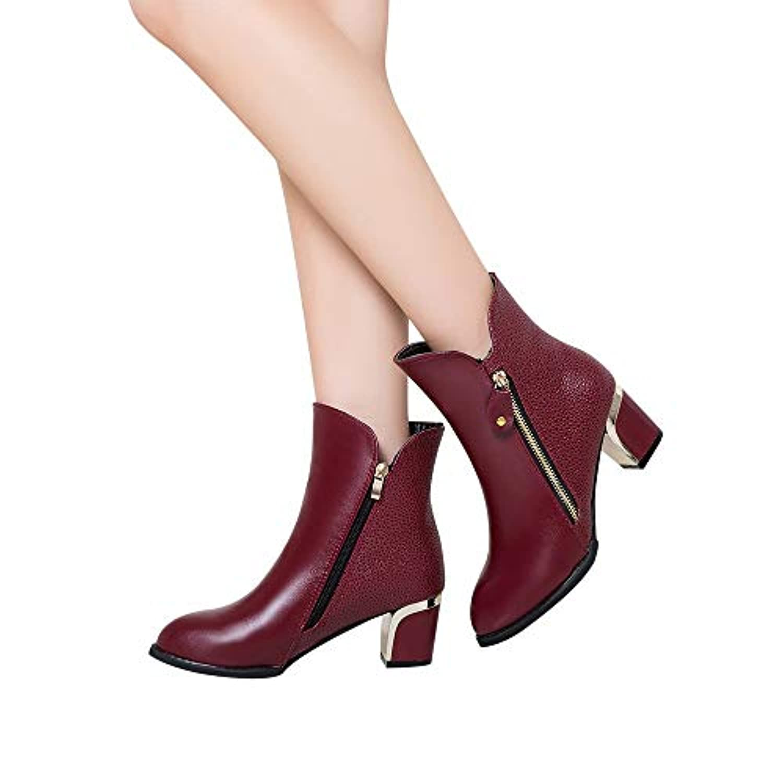 ショートブーツ レディース Hosam ショートブーツ ピンヒール ポインテッドトゥ ヒール ブーティヒールブーツ ブーツ ブーティー 靴 大きいサイズ 靴 サイドジップ ハイヒール 歩きやすい 痛くない 秋 冬 通勤通学 22.0cm~26.5cm