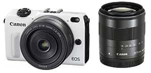 Canon ミラーレス一眼カメラ EOS M2 ダブルレンズキット(ホワイト) EF-M18-55mm F3.5-5.6 IS STM EF-M22mm F2 STM付属  EOSM2WH-WLK