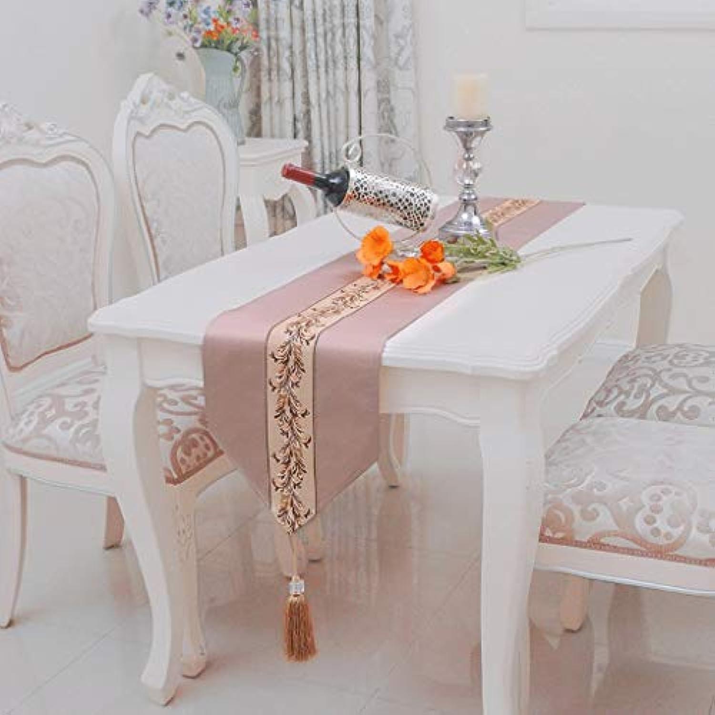 テーブルランナー ホームデコレーション 北欧 刺繍 モダン おしゃれ 長方形 エレガント 結婚式 お祝い 30*160/180/200/220/240cm (Color : Brown, Size : 30X240CM)