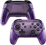 eXtremeRate Clear Atomic Puple Faceplate Backplate Handles for Nintendo Switch Pro Controller, DIY Replacement