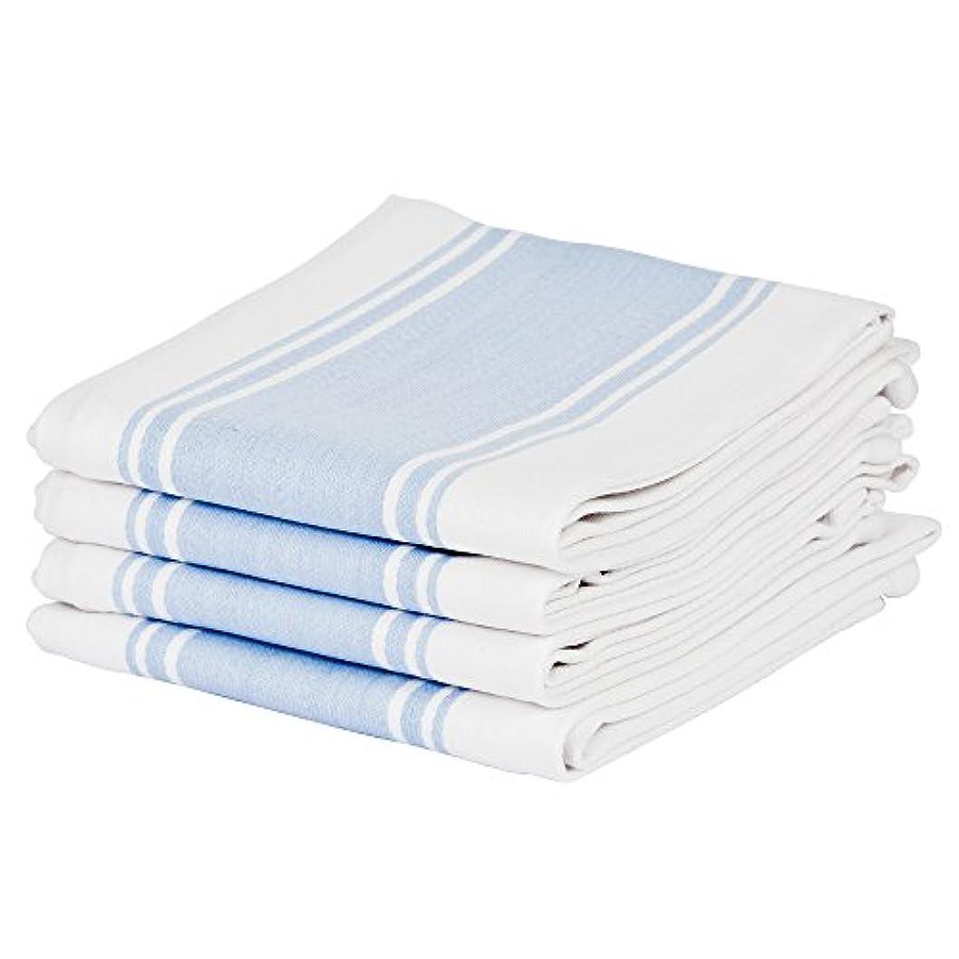 業界無意味アイデアキッチンティータオル100%コットン、プロフェッショナルグレード、細かい織り、大、ビンテージストライプの吸収材 (青)