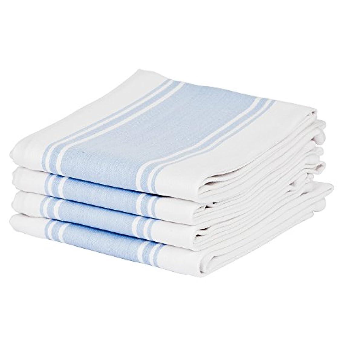 後者近代化献身キッチンティータオル100%コットン、プロフェッショナルグレード、細かい織り、大、ビンテージストライプの吸収材 (青)
