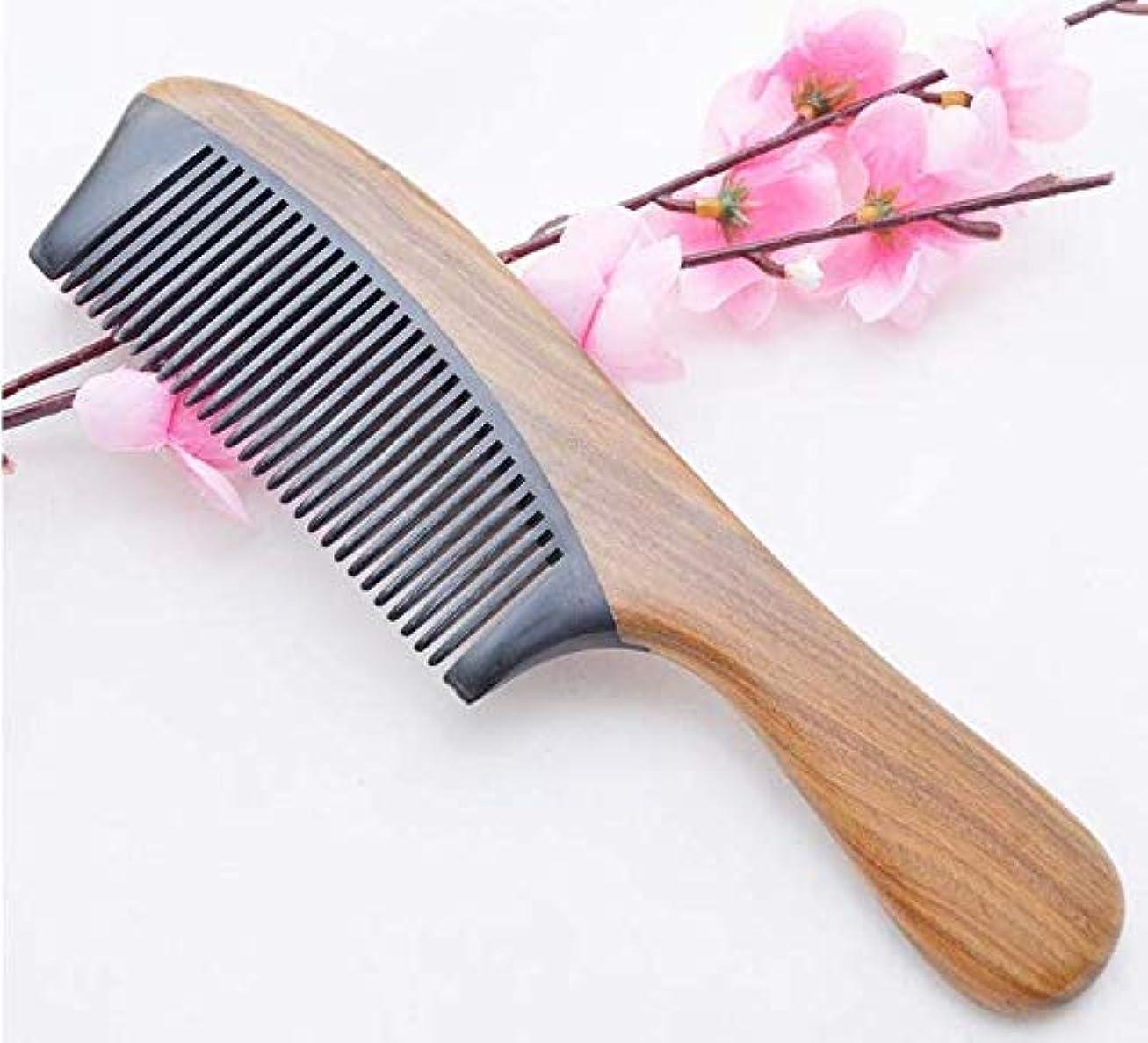 流照らす部分的にNatural Green Sandalwood Ox Horn Wood Anti Static Hair Beard Comb Care Handle高級櫛木製 ヘアブラシ 静電気防止櫛 100% 天然くし頭皮&肩&...