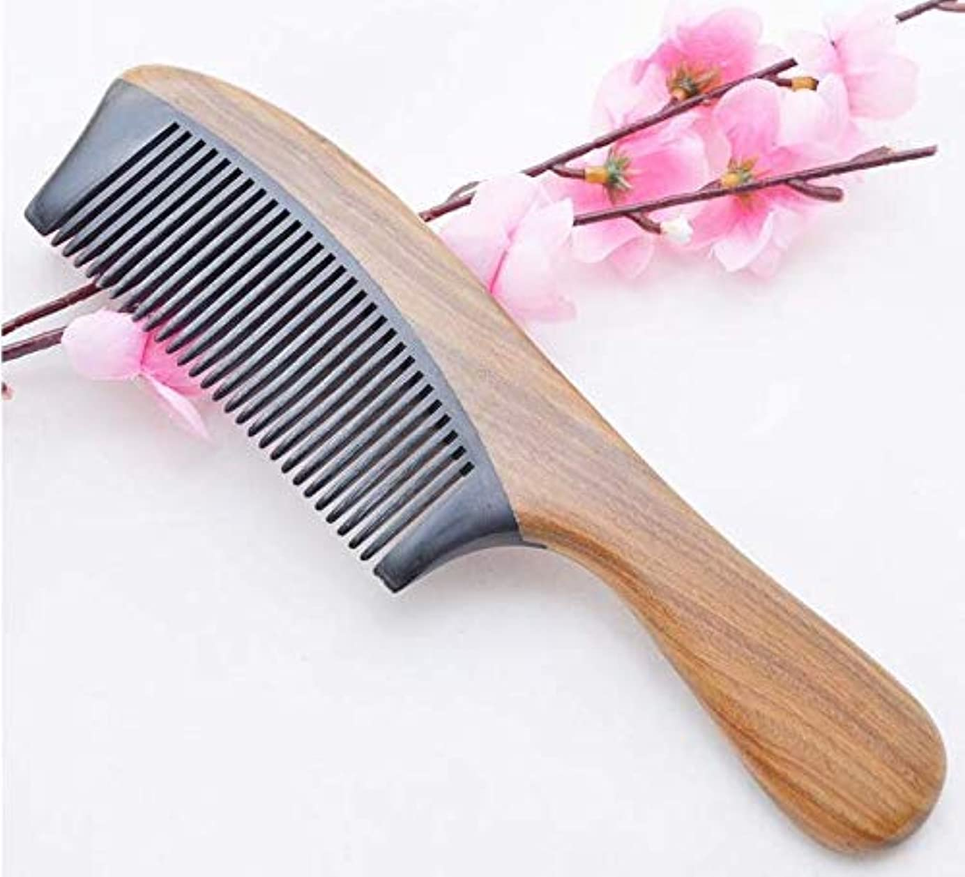 後男米ドルNatural Green Sandalwood Ox Horn Wood Anti Static Hair Beard Comb Care Handle高級櫛木製 ヘアブラシ 静電気防止櫛 100% 天然くし頭皮&肩&...