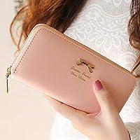 ピンク他全4色 リボン長財布 レディース財布 財布 レディース 可愛い財布 (KQ-270) (ピンク)