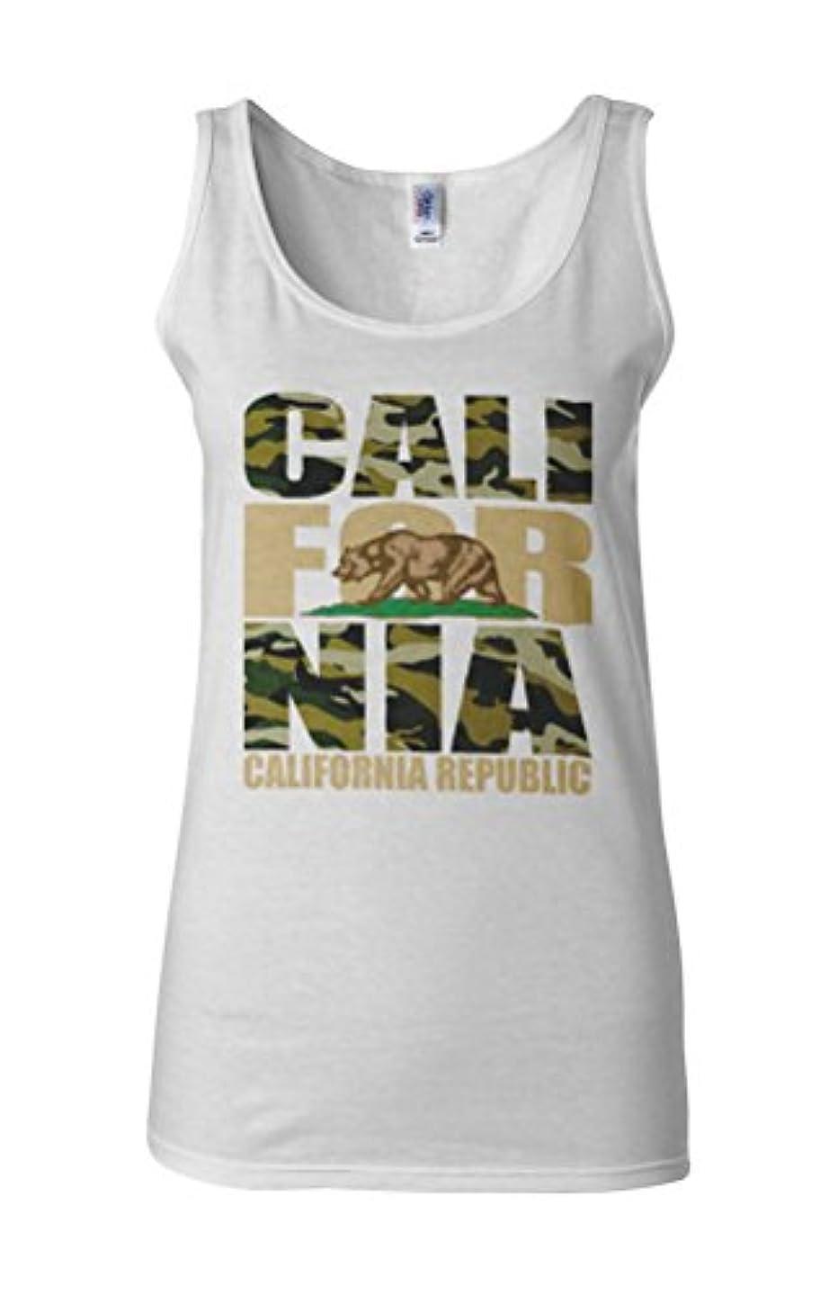 視線その間今California Bear Army Camouflage Novelty White Women Vest Tank Top