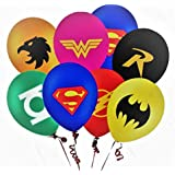 Merchant Medley 28 Count Super Hero Justice League Inspired Balloon Pack - Large 12 Inch Size - Latex - Includes 7 Styles