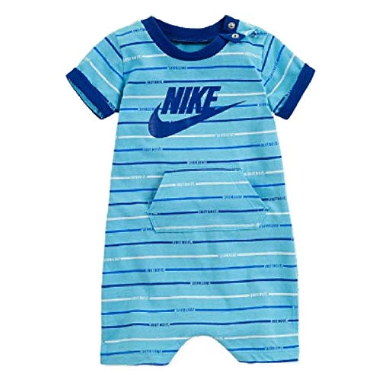 NIKE ナイキ 男の子用マルチボーダーJUST DO IT半袖ロンパース(Blue) カバーオール ジャンプスーツ (newborn(55)) [並行輸入品]
