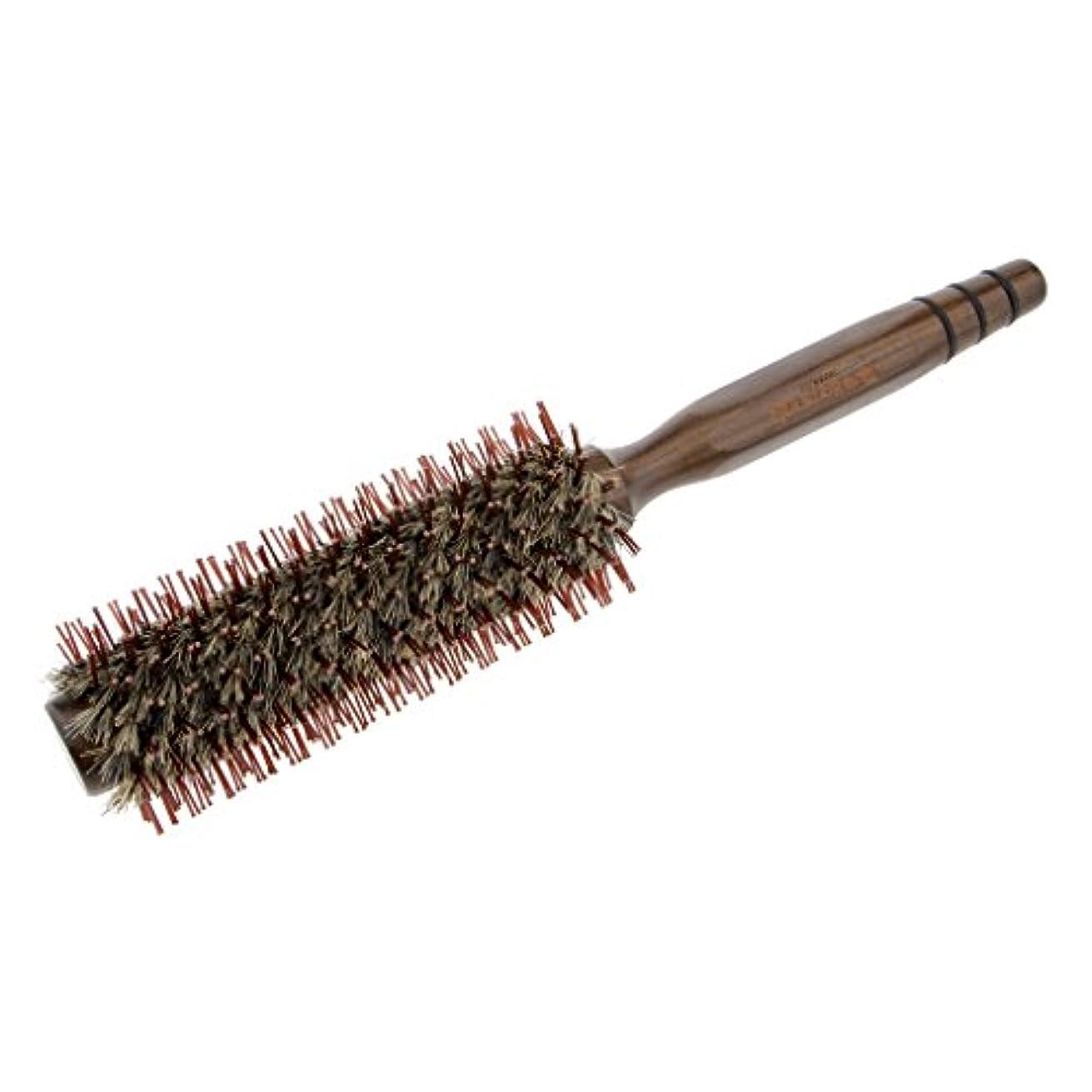 日曜日ビュッフェ傾向がある自然木製ラウンドヘアブラシカールスタイリングデタングリングロールヘアブラシ - L