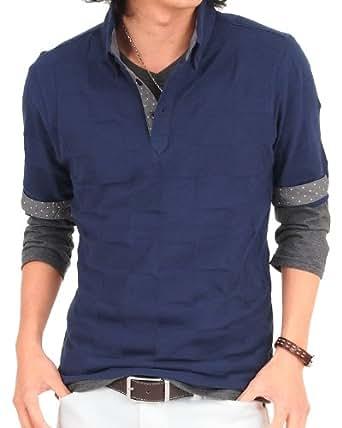 (トップイズム) TopIsm メンズ ポロシャツ ブロックチェック 2点セット アンサンブル レイヤード 七分袖 7分袖 Tシャツ カットソー 無地 s-tops-6 LL 4-Navy