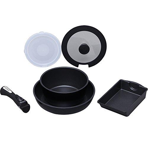 アイリスオーヤマ フライパン 鍋 6点 セット IH対応 ブラック 「ダイヤモンドコートパン」 取っ手の取れる IS-SE6
