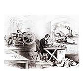 世紀の進捗状況:ライトニングスチームプレス、電気電信、機関車や蒸気船 ファインアート プリント (60.96 x 45.72 cm)