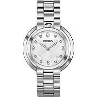 Bulova Women's Quartz Watch Metal Bracelet analog Display and Stainless Steel Strap, 96P184