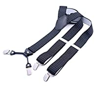 Suspenders 【スーパーサイズ 35mm big size サスペンダー 】父のギフト ブレース 結婚式 合コン 学生の卒業式 誕生日 成年式 4クリップ 男女兼用 大き目のクリップでしっかりホールド 安定感のある幅広タイプ カジュアル 祖父のギフト (Color : Color24)