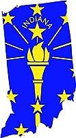 インディアナ州州旗内側3.8X 7インチステッカーデカールDie Cutビニール–、アメリカで発送