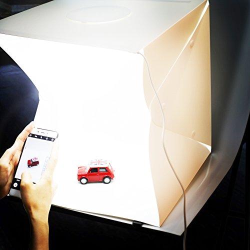 [HSFEO]撮影ボックス 小型 40*40*40 cm 35*2個LED照明搭載 ボタン式 防水 安定性 簡易スタジオ 4バリエーション背景付き 組立簡単 折り畳み 携帯型 収納袋/日本語説明書付き USB給電/撮影ブース/撮影キット