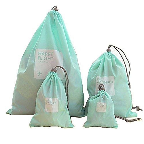 ギフトバッグナイロン収納ポーチ巾着袋4本 (ライトブルー)...