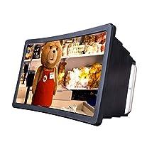 ショー8.2インチスクリーン拡大鏡、携帯電話映画ビデオスクリーンアンプのためのスマートフォンの拡大3Dスクリーン保護電話ブラケット折りたたみ式スタンドホルダー、黒で目を保護