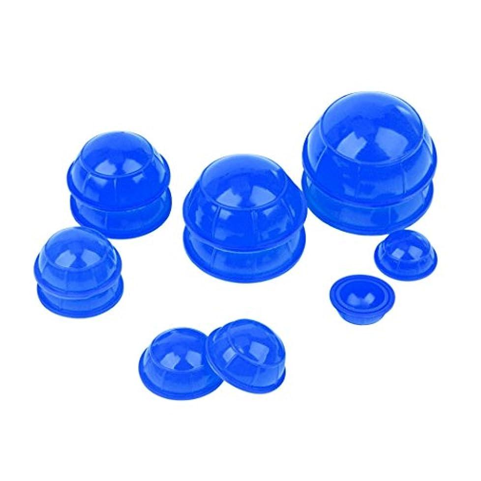 バルセロナリンス脚本(inkint)マッサージ吸い玉 カッピングカップ 12個セット ネック 顔全身マッサージ (ブルー)