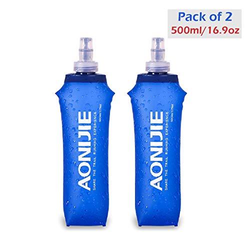 Azarxis ハイドレーション 折りたたみ水筒 ランニング TPU 水筒 携帯式ボトル ウォーターボトル スポーツボトル 水分補給 無毒無臭マラソン ハイキング 防災 登山 サイクリング ソフト250ml 500ml (500ml-2個)