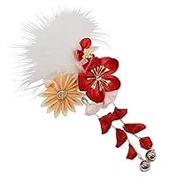 七五三 髪飾り ガールズ 単品 下り藤 羽飾り お花柄 赤 オレンジ N3120