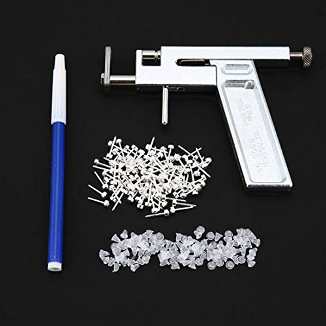 ピン写真を撮る模索1セットプロフェッショナルステンレススチール製の耳ノベルのボディピアス銃72pcsのイヤリングスタッドジュエリーツールキットセット耐久性のあるボックス