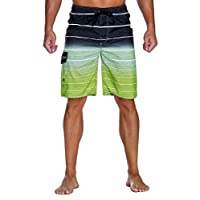 Unitop Men's Colortful Striped Swim Trunks Beach Board Shorts Lining