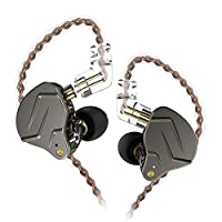 KZZSN Pro ハイブリッド型インナーイヤホン ダイナミックドライバー一基とバランスド.アーマチュア型ドライバー一基を搭載(1BA+1DD) 医療用樹脂筐体と亜鉛合金シェルが配置され 0.75mm2pinコネクターと汎用3.5mmプラグ リケーブル着脱式 高音質 重低音 密閉型ノイズキャンセリング カナル型 HIFI中華イヤホン (グレー)