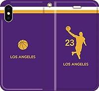 バスケ iPhone Xperia Galaxy Android シルエット スマホケース 手帳型 カバー(フルカラー/アウェイ/ロサンゼルス:23番_B) 11 iPhone XS Max