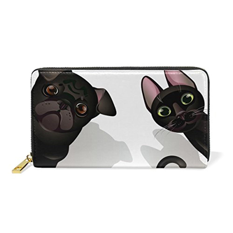 AOMOKI 財布 長財布 本革 大容量 ラウンドファスナー 通勤 通学 猫 犬