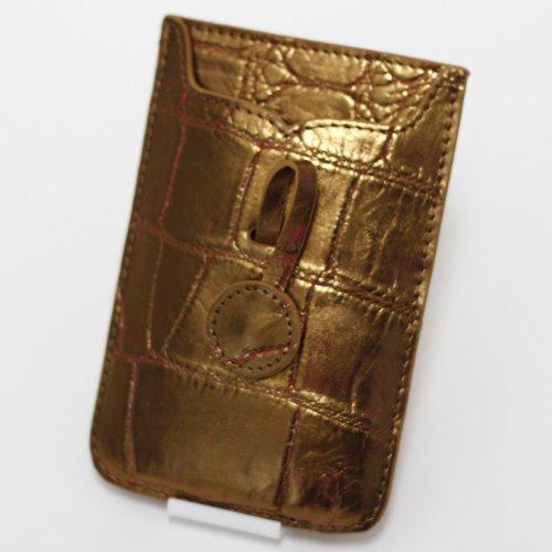 【iPhone専用】本クロコダイル皮革オリジナルスマートフォンケース (ピンキッシュゴールド)