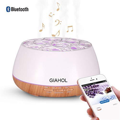GIAHOL アロマディフューザー 超音波式 おしゃれ Bluetoothスピーカー きれいなミスト加湿器 空焚き防止機能搭載 多色変換ledライト搭載 時間設定 間接照明 4つの穴 霧の大量 部屋 会社 ヨガなど各場所用 日本語取扱説明書付き (ホワイト-Bluetooth)
